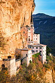 Sanctuary Madonna della Corona at golden hour Europe, Italy, Veneto, Verona district, Spiazzi
