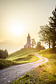 The iconic Jamik church, with Mount Triglav on the background, Jamnik, Kranj, Upper Carniola, Slovenia