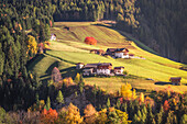 Small mountain village into the Funes Valley, Puez Odle Natural Park, South Tyrol, Italy