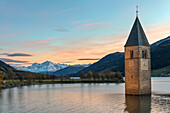 The submerged bell tower of Curon Venosta, province of Bolzano, Alto Adige district, Italy