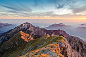 Grignetta at sunset seen from the top of Grigna, Lecco Province Lombardy Italy Europe