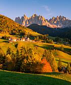 Autumn in the Italian Dolomites Alps, Funes Valley, Trentino Alto Adige, Italy, Santa Maddalena