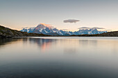 Sunrise on Mont Blanc massif from Tachuy lake, La Thuile, Aosta Valley, Italy, Italian alps