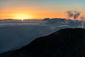 Sesto / Sexten, Bolzano province, South Tyrol, Italy Europe. Sunrise at the Helm mountain