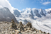 Overview of the Diavolezza and Pers glaciers and Piz Palù, St,Moritz, canton of Graubünden, Engadine, Switzerland