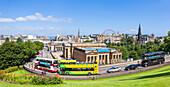 Edinburgh City centre, museums, galleries and city skyline, The Mound, Edinburgh, Midlothian, Scotland, United Kingdom, Europe