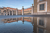 Villa Reale reflected in a puddle, Monza, Lombardy, Italy, Europe