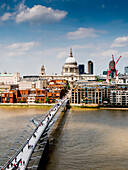 St. Paul's Cathedral and Millennium Bridge from the Tate Gallery, London, England, United Kingdom, Europe