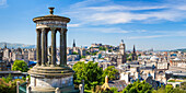 Dugald Stewart Monument, city centre and Edinburgh skyline panorama, Calton Hill, Edinburgh, Midlothian, Scotland, United Kingdom, Europe