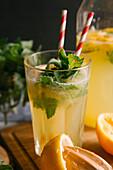 Close up of fresh lemonade in glass