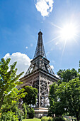 Sunbeams on Eiffel Tower, Paris, Ile de France, France