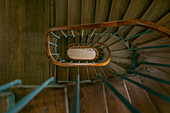 High angle view of winding staircase