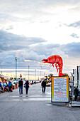 Giant shrimp sign on the promenade of Viareggio, Tuscany, Italy, Europe