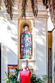 Unusual keramik figures at the Chiesa di sant Andrea church, Monterosso al Mare, province of La Spezia, Cinque Terre, Liguria, Italy, Europe