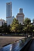 base basins of collapsed 9/11 World Trade Center, WTC Memorial, Manhattan, NYC, New York City, United States of America, USA, North America