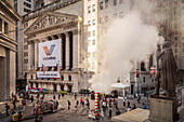 George Washington Statue and view to New York Stock Exchange, smoke coming from the underground on Wall Street, Manhattan, NYC, New York City, United States of America, USA, North America