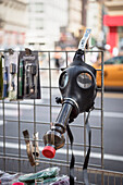 Gas mask with Bong, outdoor Head Shop, Manhattan, NYC, New York City, United States of America, USA, North America
