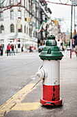 Hydrant painted in colours of Italian National Flag, Tricolore, Little Italy, Manhattan, NYC, New York City, United States of America, USA, North America