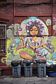 mural behind trash cans, Williamsburg, Brooklyn, NYC, New York City, United States of America, USA, North America