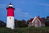 USA, Massachusetts, Cape Cod, Eastham, Nauset Lighthouse, dawn.