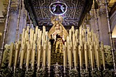 Image of the Virgin Mary with candles used in one of the processions of Semana Santa (Easter).