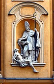 Architectural detail - symbols in arts - Saint Martin helps poor man, St. Martin's Church - Kosciol Sw. Marcina, located on ulica Piwna - Beer Street in the Polish capital's Old Town, Warsaw, Poland, Europe