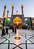 Entrance to Fatima tomb in Fatima Masumeh Shrine, Shiah Islam holy place in Qom city, capital of Qom Province of Iran.