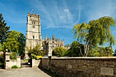 Spring day at St Peter and Paul church in Northleach, a small town in the Cotswolds, Gloucestershire, England.