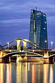 The new European Central Bank building in the east of Frankfurt, Skyline, Floesser Bridge, Twilight, Frankfurt - Main,  Germany, EZB, ECB