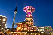 Christmas Market Alexander Square, TV Tower, Berlin, Germany
