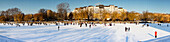 Panorama of frozen Urban Harbour in Kreuzberg,  Winter , Berlin, Germany