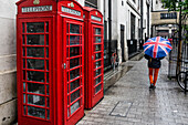 Telephone Box, Women with Umbrella, Raiun, London