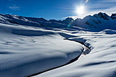 Winter in Melchsee Frutt, Panorama,   Swiss Alps, St. Gallen, Switzerland