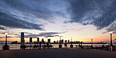 View from Battery Park to Skyline of New Jersey at Sunset, New York Cty