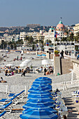 Promenade des Anglais, Beach , Hotel Negresco, Nice, Alpes Maritimes, Provence, French Riviera, Mediterranean, France, Europe