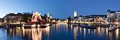 Panorama at river Limmat, Grossmunster, Zurich