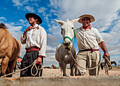 Gauchos with horses, Vallecito, San Juan Province, Argentina, South America