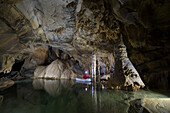 Underground lake in the Krizna Jama karst cave, Slovenia, Europe