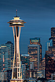 Seattle city skyline at night with illuminated office buildings and Space Needle viewed from public garden near Kerry Park, Seattle, Washington State, United States of America, North America