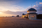 The pier at Hastings at sunrise, Hastings, East Sussex, England, United Kingdom, Europe