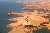 Aerial view of Abu Simbel, UNESCO World Heritage Site, and Lake Nasser, Egypt, North Africa, Africa
