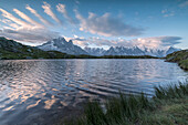 Sunrise on Mont Blanc massif seen from Lacs De Cheserys, Chamonix, Haute Savoie, French Alps, France, Europe