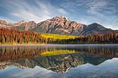 Pyramid Mountain reflected in Patricia Lake in autumn, Jasper National Park, UNESCO World Heritage Site, Canadian Rockies, Alberta, Canada, North America