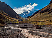 Aconcagua Mountain and Horcones River, Aconcagua Provincial Park, Central Andes, Mendoza Province, Argentina, South America