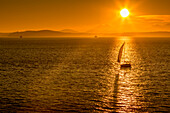 Sailing boat and sunset over Elliott Bay with Bainbridge Island visible on the horizon viewed from Bell Harbour Marina. Seattle, Washington State, United States of America, North America