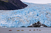Colourful kayaks, Aialik Glacier, blue ice and mountains, Harding Icefield, Kenai Fjords National Park, near Seward, Alaska, United States of America, North America