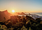 View from Vista Chinesa over Tijuca Forest towards Rio de Janeiro at sunrise, Brazil, South America