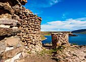 Chullpas by the Lake Umayo in Sillustani, Puno Region, Peru, South America
