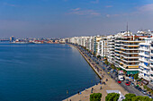 Panoramic view from the city's landmark The White Tower, of historic waterfront up to the port area, Thessaloniki, Greece, Europe