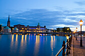 Evening, Waterfront, Gamla Stan on left, Stockholm, Sweden, Scandinavia, Europe